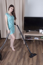 Sandra strips naked after her cleaning work
